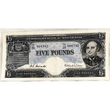 AUSTRALIA 1954 . FIVE POUND BANKNOTE . COOMBS/WILSON . FIRST PREFIX TA00