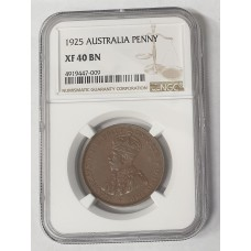 AUSTRALIA 1925 . PENNY . GENUINE . EXTRA FINE . CENTER DIAMOND