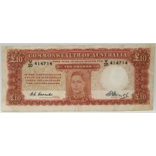 AUSTRALIA 1949 . TEN POUNDS BANKNOTE . EXCELLENT VALUE