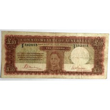 AUSTRALIA 1940 . TEN POUNDS BANKNOTE . FIRST PREFIX