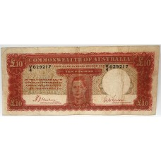 AUSTRALIA 1940 . TEN POUNDS BANKNOTE . VERY SCARCE . KEY SIGNATURE