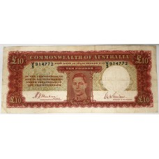 AUSTRALIA 1940 . TEN POUNDS BANKNOTE . SHEEHAN/McFARLANE . FIRST PREFIX V3