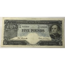 AUSTRALIA 1954 . FIVE POUNDS BANKNOTE . COOMBS/WILSON . FIRST PREFIX TA00