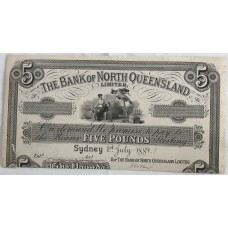 AUSTRALIA 1889 . FIVE POUNDS BANKNOTE . PREFEDERATION PROOF . RARE