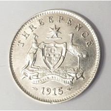 AUSTRALIA 1915 . THREEPENCE . FULL CENTRE DIAMOND