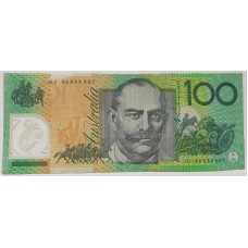 AUSTRALI A 1999 . ONE HUNDRED DOLLAR BANKNOTE . EVANS/MacFARLANE . SIX DIGIT REPEATER 988889