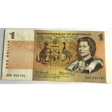 AUSTRALIA 1966 . ONE DOLLAR BANKNOTE . COOMBS/WILSON . FIRST PREFIX