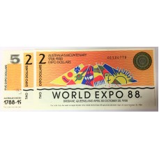 AUSTRALIA 1988 . 2x TWO DOLLARS AND FIVE DOLLARS . EXPO DOLLARS