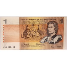 AUSTRALIA 1966 . ONE DOLLAR BANKNOTE . FIRST PREFIX
