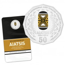 AUSTRALIA 2014 . FIFTY CENT COIN . 50TH ANNIVERSARY OF AIATSIS . COLOURED COIN ON CARD