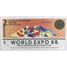AUSTRALIA 1988 . TWO DOLLARS BANKNOTE . WORLD EXPO 88