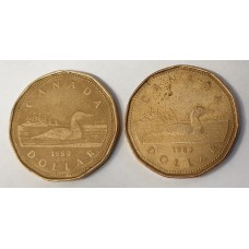 CANADA 1989 . ONE DOLLAR . 2x LOONIE COINS . COLLECTABLE