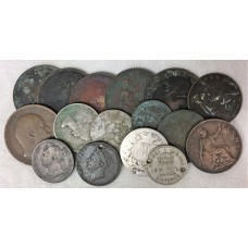 GREAT BRITIAN . MIXED COINS . SILVER AND COPPER . MIXED GRADES . SOME SCARCE