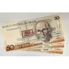 BRAZIL 1990 . FIFTY CRUZADOS NOVOS BANKNOTES . ERROR . INK SMUDGE FROM OVERPRINT