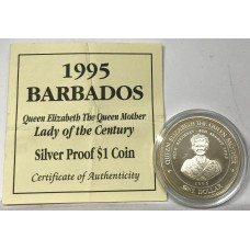 BARBADOS 1995 .ONE DOLLAR . PROOF COIN . WITH C.O.A
